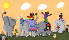 Glückliche und traurige afrikanische Elefanten und Kinder Stockbild