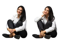 Glückliche und traurige Geschäftsfrauen Stockbild