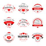 Glückliche Valentine Day-Vektorherz-Valentinsgrußikonen für Grußkartendesignschablone Stockbilder