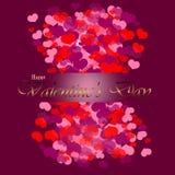 Glückliche Valentinsgrüße Hintergrund, Goldtext lizenzfreie abbildung