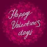 Glückliche Valentinsgruß ` s Tagesbeschriftung auf dem Hintergrund mit Herzen vector Karte Lizenzfreies Stockbild