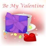 Glückliche Valentinsgruß ` s Tageskarte mit Tasse Kaffee, Geschenk und Herzen Lizenzfreie Stockbilder