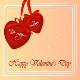 Glückliche Valentinsgruß ` s Tageskarte mit zwei Herzen Hintergrund für Valentinsgruß ` s Tag Gruß-Karte in der Karikatur-Art Vek Lizenzfreies Stockbild