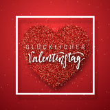 Glückliche Valentinsgruß-Tagesbeschriftungs-Grußkarte auf rotem hellem Herzhintergrund Lizenzfreies Stockbild