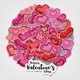 Glückliche Valentinsgruß-Tagesillustration für Grußkarte, Parteieinladung, Netzfahne Karikaturartherzen vereinbarten in einem Kre Lizenzfreies Stockbild