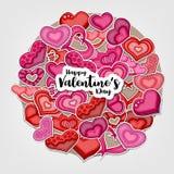 Glückliche Valentinsgruß-Tagesillustration für Grußkarte, Parteieinladung, Netzfahne Karikaturartherzen vereinbarten in einem Kre Stockfotografie