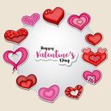 Glückliche Valentinsgruß-Tagesillustration für Grußkarte, Parteieinladung, Netzfahne Karikaturartherzen vereinbarten in einem Kre Stockfotos