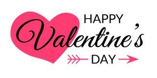 Glückliche Valentinsgruß-Tageskalligraphie-typografische Beschriftung mit dem roten Herzen, Pfeil und schwarzem Text lokalisiert  vektor abbildung