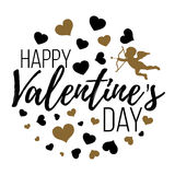 Glückliche Valentinsgruß-Tageskarten mit Herzen, Engel und Pfeil isolat Stockbild