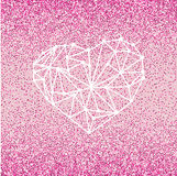 Glückliche Valentinsgruß-Tagesliebes-Grußkarte mit geometrischem Herzen auf rosa Hintergrund mit hochrotem Funkelneffekt Stockbild