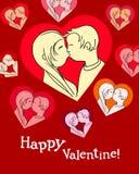 Glückliche Valentinsgrußkarte des Kußes Stockfotos
