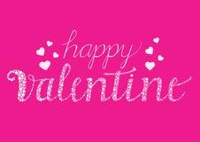 Glückliche Valentinsgrußkarte mit Bürstenskriptbuchstaben Stockfoto