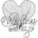 Glückliche Valentinsgrußtagbeschriftung, Gestaltungselemente für Karten Roter, rosa Hintergrund mit Verzierungen, Herzen Gekritze Stockfoto