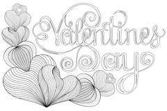 Glückliche Valentinsgrußtagbeschriftung, Gestaltungselemente für Karten Roter, rosa Hintergrund mit Verzierungen, Herzen Gekritze Lizenzfreie Stockfotos