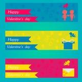 Glückliche Valentinsgrußtages- und -säubernfahnen Vektor eingestellt: Stilvolle 2014 Pferde Stockbilder