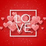 Glückliche Valentinsgrußtages- und -säuberngestaltungselemente Auch im corel abgehobenen Betrag Rosa Hintergrund mit Verzierungen Stockbild