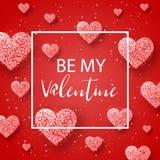 Glückliche Valentinsgrußtages- und -säuberngestaltungselemente Auch im corel abgehobenen Betrag Rosa Hintergrund mit Verzierungen Lizenzfreies Stockbild