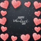 Glückliche Valentinsgrußtages- und -säuberngestaltungselemente Auch im corel abgehobenen Betrag Rosa Hintergrund mit Verzierungen Stockfoto