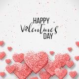 Glückliche Valentinsgrußtages- und -säuberngestaltungselemente Auch im corel abgehobenen Betrag Rosa Hintergrund mit Verzierungen Lizenzfreie Stockfotos