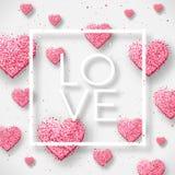 Glückliche Valentinsgrußtages- und -säuberngestaltungselemente Auch im corel abgehobenen Betrag Rosa Hintergrund mit Verzierungen Lizenzfreie Stockfotografie