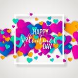 Glückliche Valentinsgrußtages- und -säuberngestaltungselemente Auch im corel abgehobenen Betrag Rosa Hintergrund mit Verzierungen Stockfotografie
