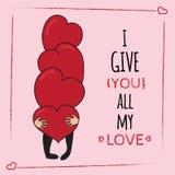 Glückliche Valentinsgrußtagesgrußkarte Stockfotos
