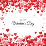 Glückliche Valentinsgrußtagesgrußkarte Grußkarten-Abdeckung Schablone Hintergrund füllte mit Herzen mit Platz für Aufschrift Vekt vektor abbildung