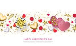 Glückliche Valentinsgrußtagesgrußkarte von Herzgeschenken, von goldenen Funkelnkonfettis und von rosa Blumenmuster Vektor-Valenti Lizenzfreie Stockfotos