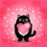 Glückliche Valentinsgrußtageskarte mit Katze und Herzen Stockfoto