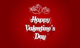 Glückliche Valentinsgrußtageskarte mit Schattenrosen und Lichteffekt lizenzfreie abbildung