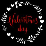 Glückliche Valentinsgrußtageskarte Vervollkommnen Sie für Feiertag Flaches stilvolles Design Auch im corel abgehobenen Betrag lizenzfreie stockbilder