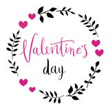Glückliche Valentinsgrußtageskarte Vervollkommnen Sie für Feiertag Flaches stilvolles Design Auch im corel abgehobenen Betrag lizenzfreies stockfoto