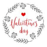 Glückliche Valentinsgrußtageskarte Vervollkommnen Sie für Feiertag Flaches stilvolles Design Auch im corel abgehobenen Betrag stockbild