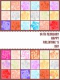 Glückliche Valentinsgrußtageskarten auf rosafarbenem Hintergrund Stockbild