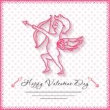 Glückliche Valentinsgrußtageskarten mit Amur auf Hintergrund Stockfoto