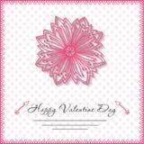 Glückliche Valentinsgrußtageskarten mit Blume an Stockfotografie
