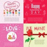 Glückliche Valentinsgrußtageskarten mit Karikaturpaaren Stockbilder