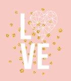 Glückliche Valentinsgrußtagesliebes-Grußkarte mit weißer niedriger Polyartherzform im goldenen Funkelnhintergrund Vektor Lizenzfreie Stockfotografie
