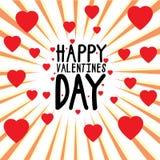 Glückliche Valentinsgrußtagesvektorgraphik mit Herzen und Sonne strahlt aus Stockfotos