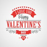 Glückliche Valentinstag-Beschriftungs-Karte - Lizenzfreies Stockfoto