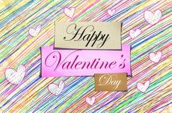 Glückliche Valentinstag-Bleistift-Farbe lizenzfreie abbildung