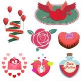 Glückliche Valentinstag Einzelteile Und Gegenstände Lizenzfreie  Stockfotografie