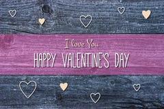 Glückliche Valentinstag-Karten-Illustration auf hölzernem Hintergrund Stockbild