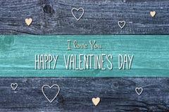 Glückliche Valentinstag-Karten-Illustration auf hölzernem Hintergrund Lizenzfreies Stockfoto