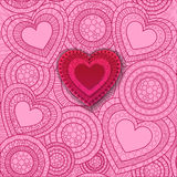 Glückliche Valentinstagbeschriftung Gruß-Karte an Stockfotos