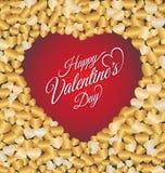 Glückliche Valentinstagbeschriftung Gruß-Karte Stockbild
