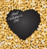 Glückliche Valentinstagbeschriftung Gruß-Karte auf dunklem Hintergrund Lizenzfreie Stockbilder