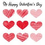 Glückliche Valentinstagbeschriftungs- und -gekritzelherzen auf weißem Hintergrund lizenzfreie abbildung