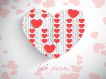 Glückliche Valentinstagfeier mit roten Herzen Stockfotos
