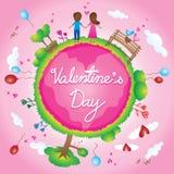 Glückliche Valentinstaggeschichten-Liebeskarikatur Lizenzfreie Stockfotos